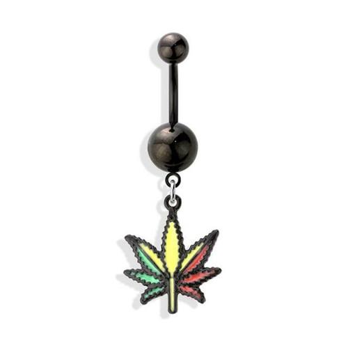 Belly Ring Navel piercing ring pot leaf RASTA Marijuana leaf surgical steel Ion plated Black