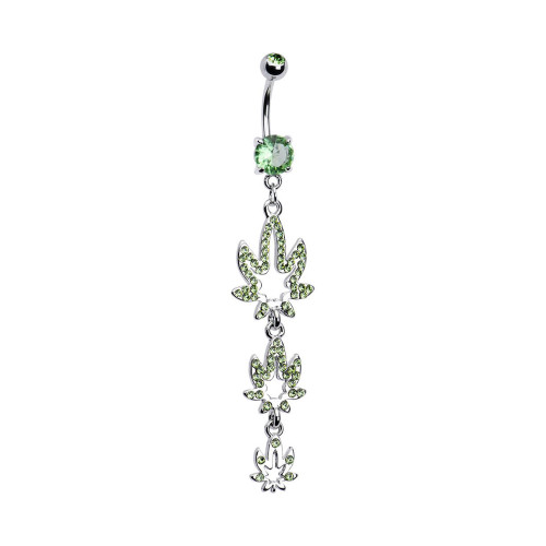 """Navel Ring Belly Button Bar Dangle-Style 316L Surgical Steel with Green Gem Pot Weed Leaves 14ga-3/8""""(10mm) - N101390"""