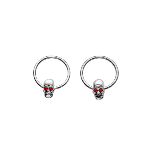 """Captive Bead ring Ring BCR 16 gauge 3/8"""" 10 mm Surgical steel with red eye skull good for almost any piercings Nose Ring Earrings Nipple And more SOLD AS A PAIR"""