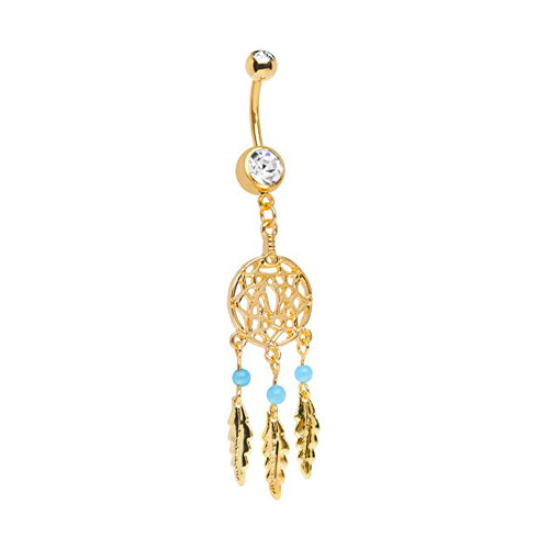 Dream Catcher Belly Ring - 14 gauge 3/8 inches Length 10mm - Gold I.P. Over 316L Surgical Steel piercings jewelry - Sold as a piece.