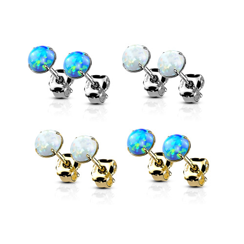 Pair of 14kt Gold Ear Studs Earrings with Prong Set Opal fit most regular Pierced ears