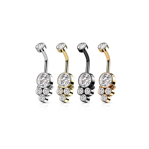 Belly Rings Navel Piercing Surgical Steel Triple CZ Round Cluster Dropdown with Internally Threaded CZ Top 14 gauge Fit most Pierced bellys