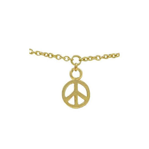 """Non piercing Belly Chain ion plated gold peace sign size Small adjustable  26"""" -29"""" summer Ready"""