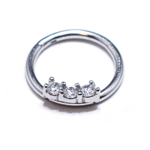 Clear Cubic Zirconia Septum Clicker Surgical Steel 16 Ga 3/8