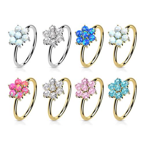 Bendable  Hoop ring  14K Gold Opal or CZ Set Flower 20 Gauge Good for Nose and Ear