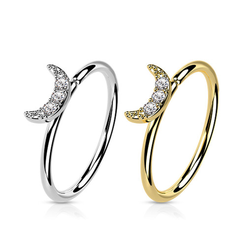 Bendable  Hoop ring  Gold CZ Paved Crescent Moon 20 Gauge Good for Nose and Ear