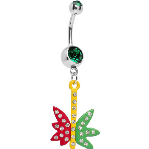 BodyJewelryOnline Belly Button Ring 14G Pot Leaf with Cubic Zirconia Gems