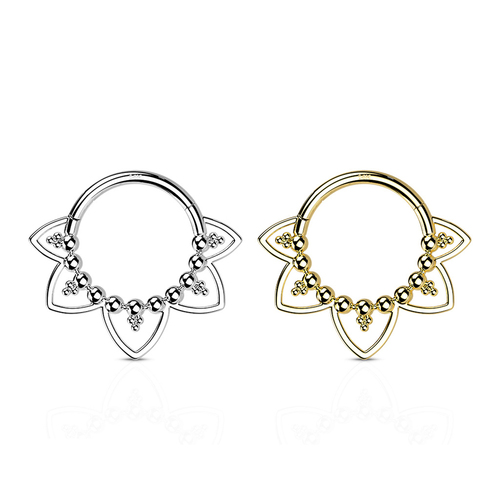 Hoop Ring Hinged Segment with Beads and Heart Filigree 14 Karat Solid Gold -Good for Ear Nose and more