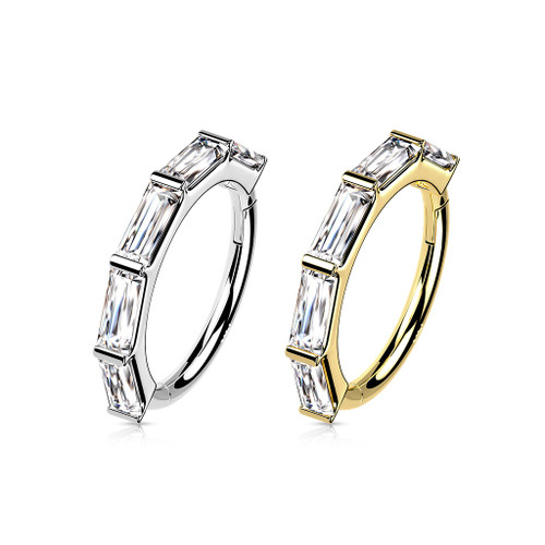 Hoop Ring Hinged Segment  14 Karat Gold with Princess Cut CZ -Good for Ear Nose and more