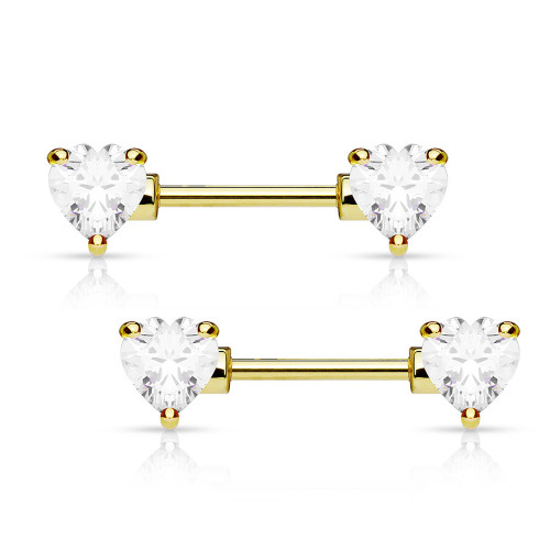 Nipple barbell ring 14 Gauge 12mm Surgical steel Ion plated gold with hearts cz