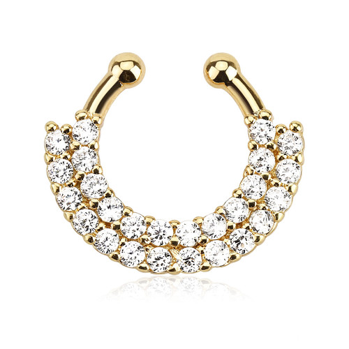 Septum ring Faux clip on NON piercing double line Gold ip paved jewels