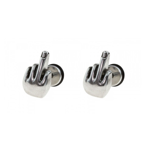 Pair of Fake plugs 16G middle finger surgical steel