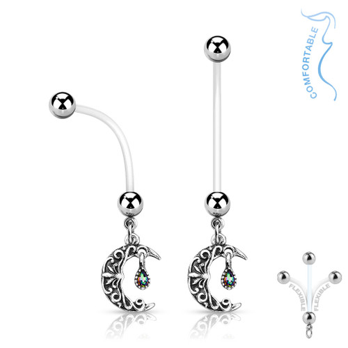 Pregnancy Belly Naval Ring Bioflex with  Crescent Moon Surgical Steel Balls