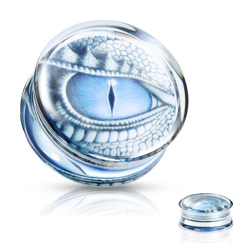Ear plugs Blue Dragon Eye Print Encased Clear Acrylic Saddle Fit Plug