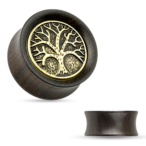 Ear plugs Organic Ebony Wood Saddle Tunnel with Tree of Life Top Sold As pair