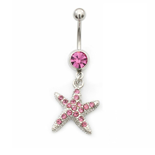 Belly Rings-Pink CZ Star Dangle Design 14ga Surgical Steel