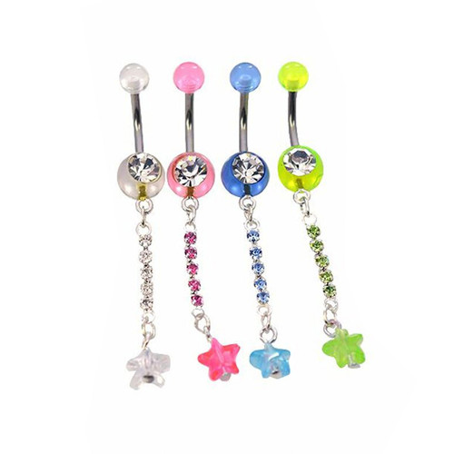 Belly Button Ring Dangles 316l Surgical Steel 14ga w/CZ Gem