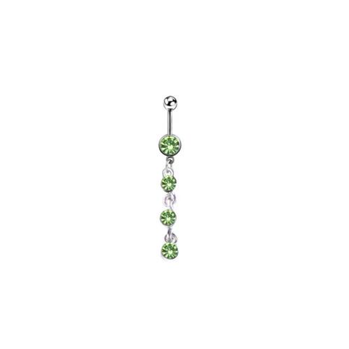 Belly rings Naval piercing 4 gem dangle design surgical steel green jewel 14 Gauge