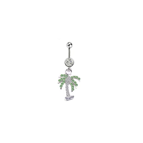 Belly rings Naval piercing dangle palm tree design surgical steel clear and green jewel 14 Gauge