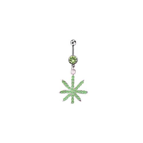 Belly rings Naval piercing dangle leaf design surgical steel green jewel 14 Gauge