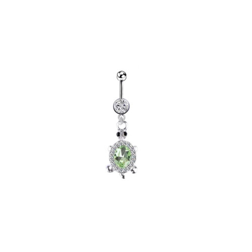 Belly rings Naval piercing dangle turtle design surgical steel clear and green jewel 14 Gauge