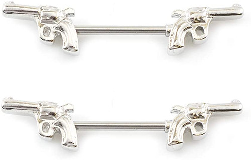 Nipple Ring Jewelry Barbell with Gun Design 14G Surgical Steel