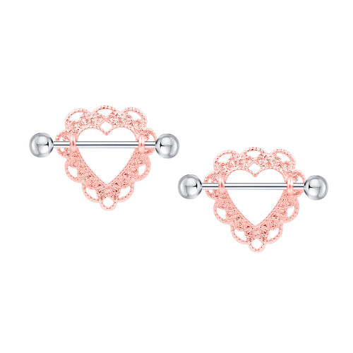 Nipple rings Barbells surgical steel Heart rose gold  design  Sold as a pair