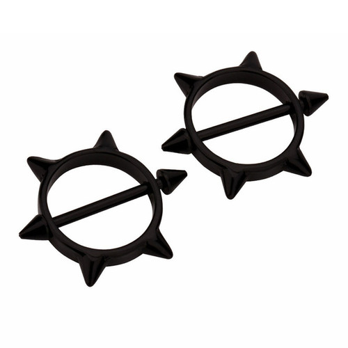 Nipple Piercing Rings Pair  Surgical Steel Round with Spikes  Bar 14G Nipple Barbells