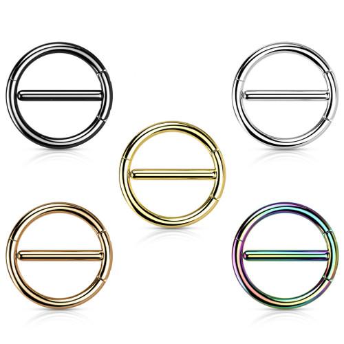 Dual Hinge Nipple Ring Surgical Steel  Hoop Ion Plated 14 Gauge  Sold as a apair