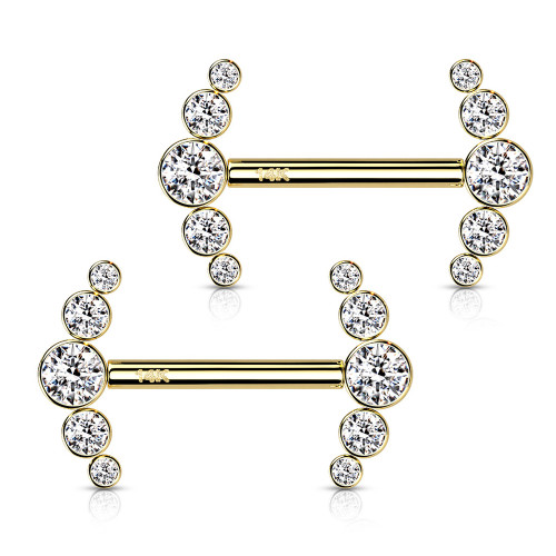 Nipple Barbells with 5-Round CZ Bezel Set Curve Ends Threadless Push in 14 Karat solid Gold 14 Gauge - Sold as a Pair