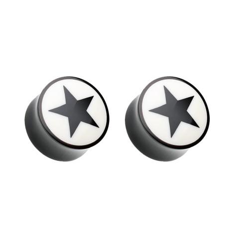 Ear Plugs Gauges Organic horn Star design Inlay Black Sold as a Pair