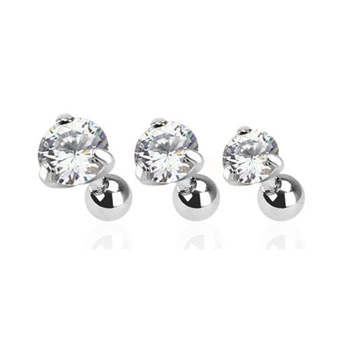 Tragus Bar with Clear Round Gem Top 3 Pcs Value Pack of Assorted  surgical steel 16 Gauge