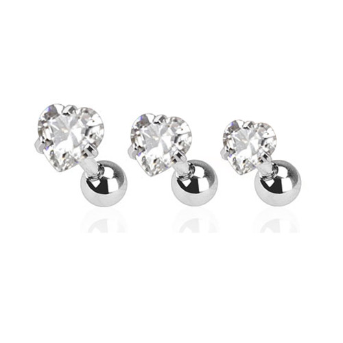 Tragus Bar with Clear Hearts  Gem Top 3 Pcs Value Pack of Assorted  surgical steel 16 Gauge