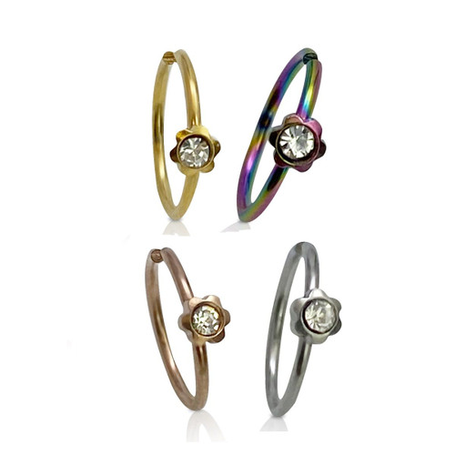 Nose Hoop Rings Bendable Surgical Steel with CZ Flower Design 20 Gauge-2pc- Choose Your Color