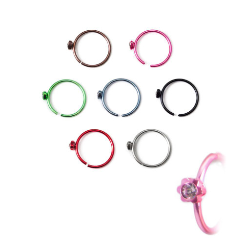 "7-piece I.P. Coated Nose, Cartilage, Tragus Hoops - 316L Surgical Steel 18ga-5/16""(8mm) - Clear Gem with Flower-shaped Housing"