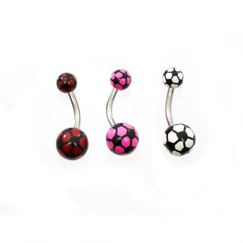 Pack of 3 Futbol/Soccer Ball Belly Button Rings Design 14ga