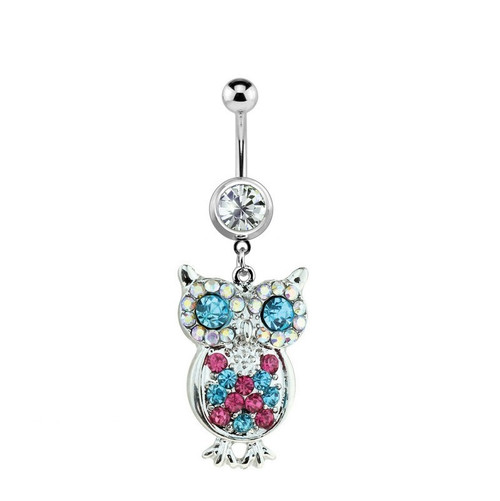 Owl Belly Button Ring 14G with Clear, Pink, and Blue Cz Gems