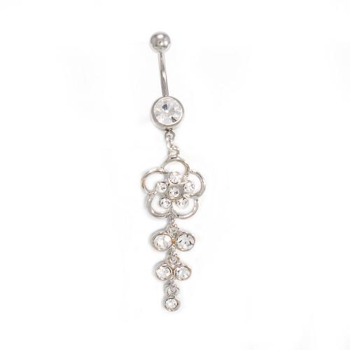 Flower Cascade Dangler Navel Ring 14ga with CZ Jewels