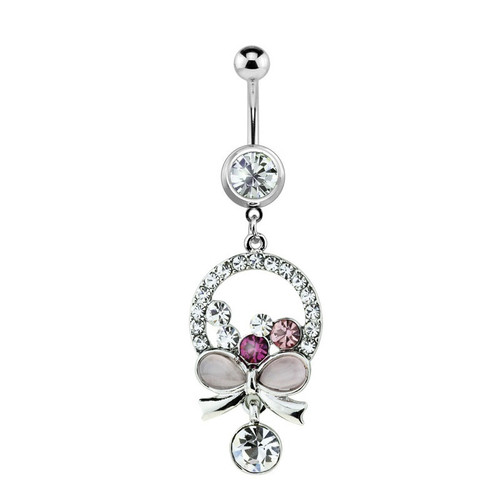 Bow Circle Design Navel Ring 14ga with Pink and Purple CZ Jewels