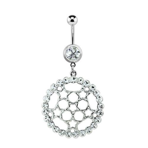 Circular Star Dangler Navel Ring 14ga with Clear CZ Jewels