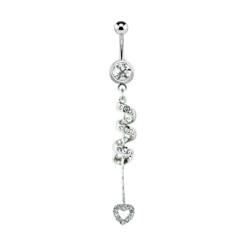 Spiral Navel Ring 14ga with Dangling Clear CZ Jewel Heart