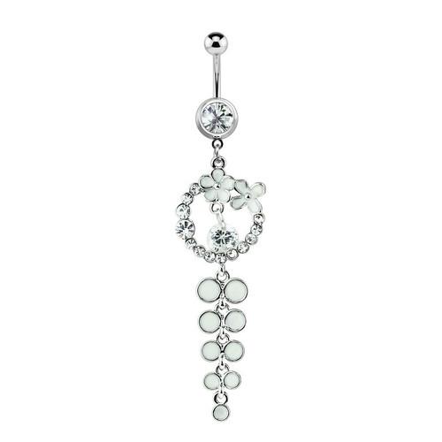 Flower CZ Jewel Circle Navel Ring 14ga with Dangling Cascade