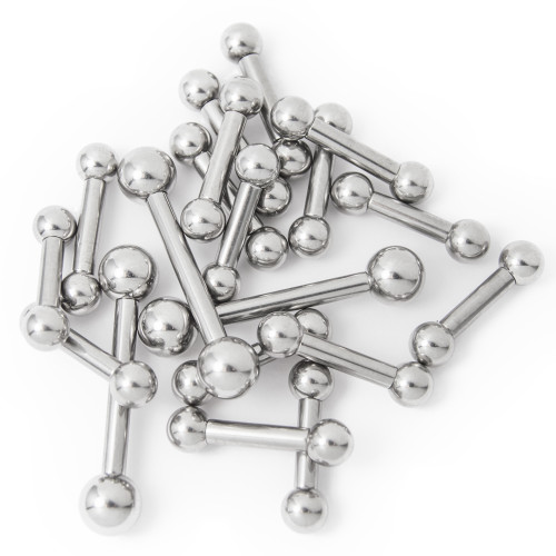 Mixed Piercing Barbells - 20 Pcs. 8 Gauge and Mixed Lengths