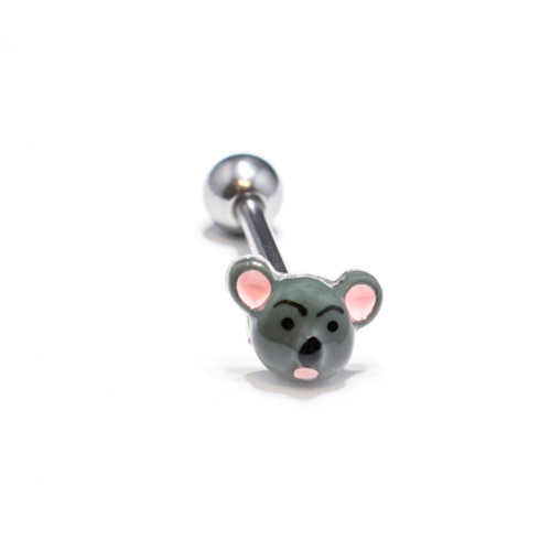 Custom Made Mouse Design, Tongue 14ga Piercing Barbell