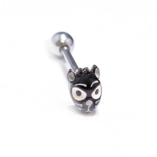 Custom Made Cat Design, Tongue 14ga Piercing Barbell