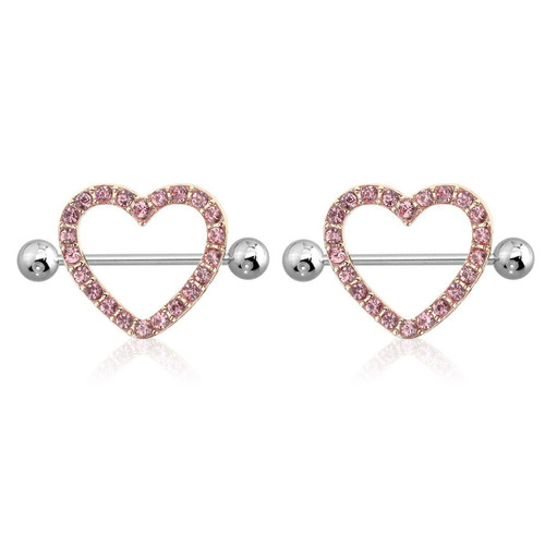"AB Gem Paved Heart Nipple Shield Ring Piercing jewelry 14G 3/4"" Length - Rose Gold"