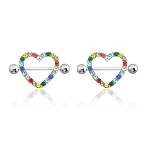 "AB Gem Paved Heart Nipple Shield Ring Piercing jewelry 14G 3/4"" Length - Multi Color"