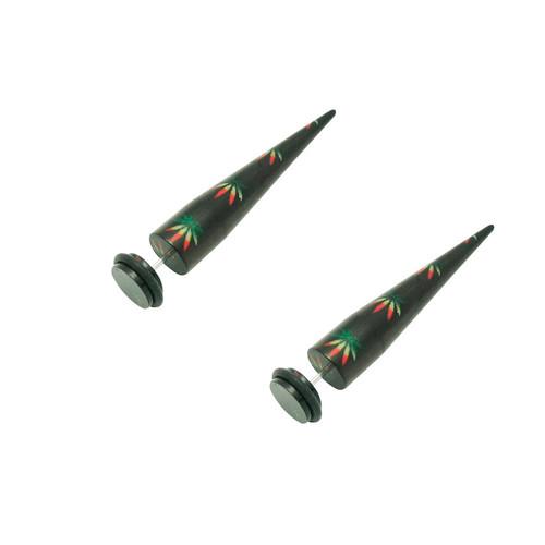Acrylic 16 Gauge Pot Leaf Fake  Ear Stretcher