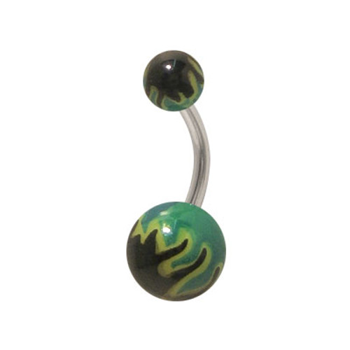 Acrylic Black and Green Flames 14g Belly Button Ring
