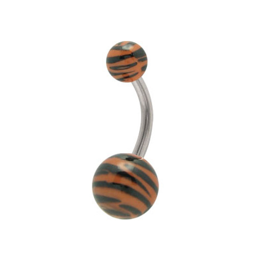 Acrylic Black and Brown Zebra Design 14g Belly Ring
